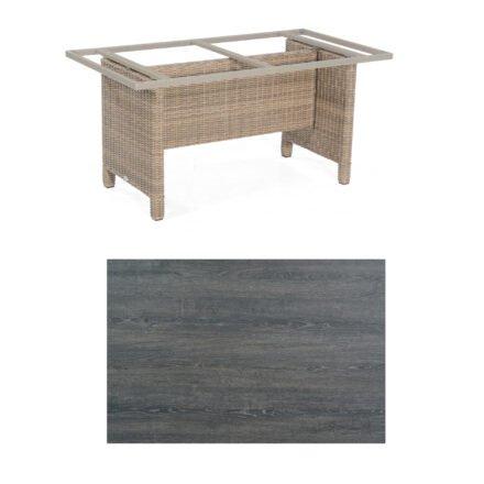 Sonnenpartner Gartentisch Base-Polyrattan, Gestell Geflecht rustic-stream, Tischplatte HPL Pinie dunkel, Größe: 160x90 cm