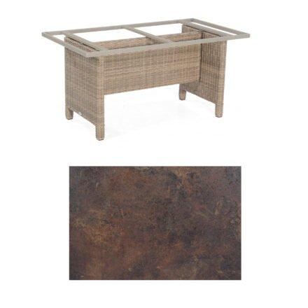 Sonnenpartner Gartentisch Base-Polyrattan, Gestell Geflecht rustic-stream, Tischplatte HPL Rostoptik, Größe: 160x90 cm