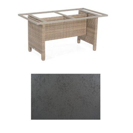 Sonnenpartner Gartentisch Base-Polyrattan, Gestell Geflecht rustic-stream, Tischplatte HPL Struktura anthrazit, Größe: 160x90 cm