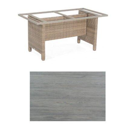 Sonnenpartner Gartentisch Base-Polyrattan, Gestell Geflecht rustic-stream, Tischplatte HPL Vintageoptik, Größe: 160x90 cm