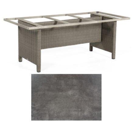 Sonnenpartner Gartentisch Base-Polyrattan, Gestell Geflecht stone-grey, Tischplatte HPL Beton dunkel, Größe: Größe: 200x100 cm
