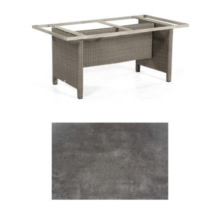 Sonnenpartner Gartentisch Base-Polyrattan, Gestell Geflecht stone-grey, Tischplatte HPL Beton dunkel, Größe: 160x90 cm