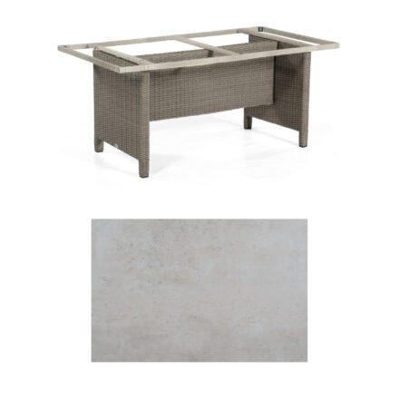 Sonnenpartner Gartentisch Base-Polyrattan, Gestell Geflecht stone-grey, Tischplatte HPL Beton hell, Größe: 160x90 cm