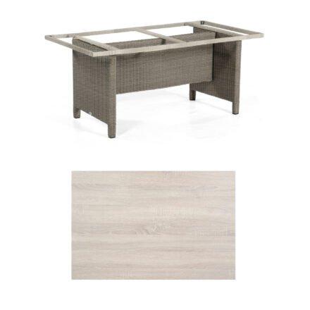 Sonnenpartner Gartentisch Base-Polyrattan, Gestell Geflecht stone-grey, Tischplatte HPL Eiche sägerau, Größe: 160x90 cm