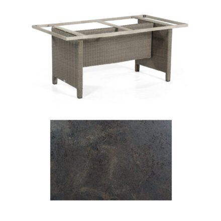 Sonnenpartner Gartentisch Base-Polyrattan, Gestell Geflecht stone-grey, Tischplatte HPL Keramikoptik, Größe: 160x90 cm