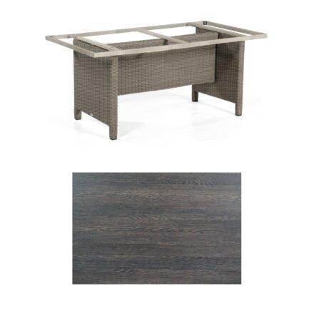 Sonnenpartner Gartentisch Base-Polyrattan, Gestell Geflecht stone-grey, Tischplatte HPL mali-wenge, Größe: 160x90 cm