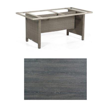 Sonnenpartner Gartentisch Base-Polyrattan, Gestell Geflecht stone-grey, Tischplatte HPL Pinie dunkel, Größe: 160x90 cm