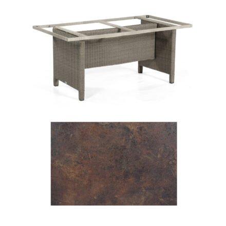 Sonnenpartner Gartentisch Base-Polyrattan, Gestell Geflecht stone-grey, Tischplatte HPL Rostoptik, Größe: 160x90 cm