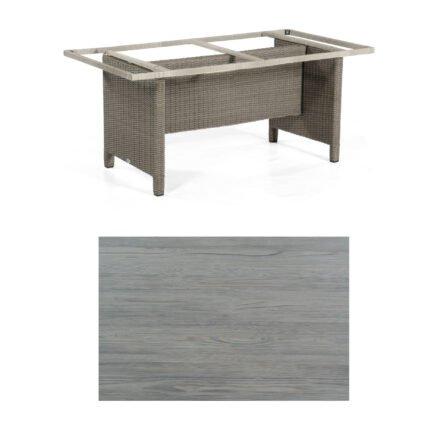 Sonnenpartner Gartentisch Base-Polyrattan, Gestell Geflecht stone-grey, Tischplatte HPL Vintageoptik, Größe: 160x90 cm