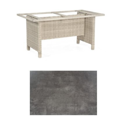 Sonnenpartner Gartentisch Base-Polyrattan, Gestell Geflecht white-coral, Tischplatte HPL Beton dunkel, Größe: 160x90 cm