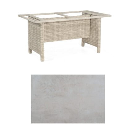 Sonnenpartner Gartentisch Base-Polyrattan, Gestell Geflecht white-coral, Tischplatte HPL Beton hell, Größe: 160x90 cm