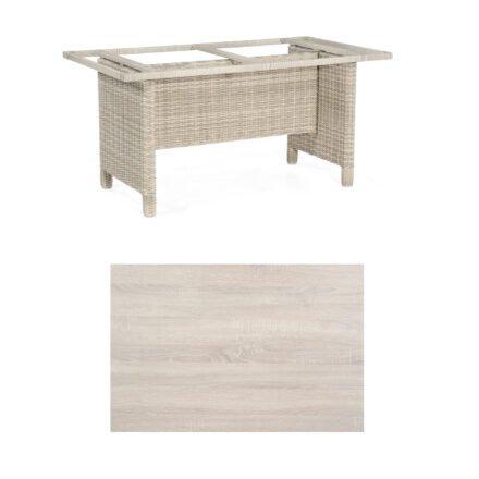 Sonnenpartner Gartentisch Base-Polyrattan, Gestell Geflecht white-coral, Tischplatte HPL Eiche sägerau, Größe: 160x90 cm