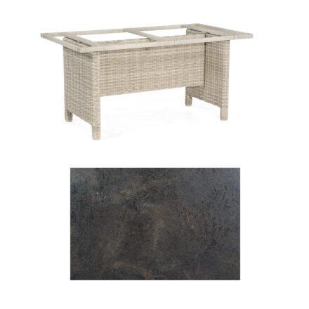 Sonnenpartner Gartentisch Base-Polyrattan, Gestell Geflecht white-coral, Tischplatte HPL Keramikoptik, Größe: 160x90 cm