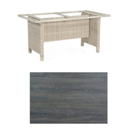Sonnenpartner Gartentisch Base-Polyrattan, Gestell Geflecht white-coral, Tischplatte HPL Pinie dunkel, Größe: 160x90 cm