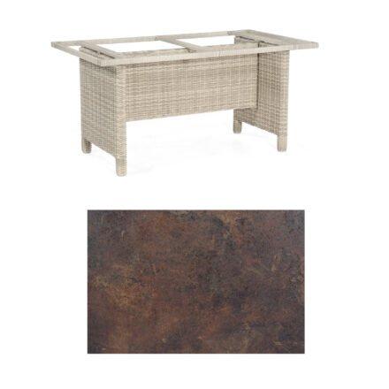 Sonnenpartner Gartentisch Base-Polyrattan, Gestell Geflecht white-coral, Tischplatte HPL Rostoptik, Größe: 160x90 cm