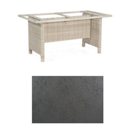 Sonnenpartner Gartentisch Base-Polyrattan, Gestell Geflecht white-coral, Tischplatte HPL Struktura anthrazit, Größe: 160x90 cm