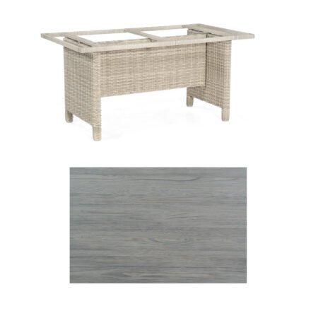 Sonnenpartner Gartentisch Base-Polyrattan, Gestell Geflecht white-coral, Tischplatte HPL Vintageoptik, Größe: 160x90 cm