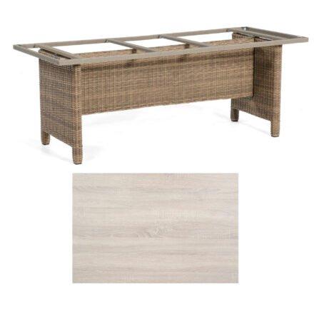 Sonnenpartner Gartentisch Base-Polyrattan, Gestell Geflecht rustic-stream, Tischplatte HPL Eiche sägerau, Größe: 200x100 cm