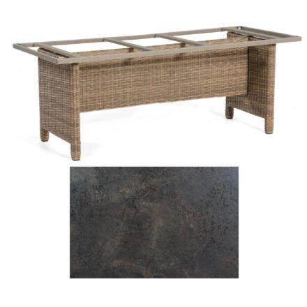 Sonnenpartner Gartentisch Base-Polyrattan, Gestell Geflecht rustic-stream, Tischplatte HPL Keramikoptik, Größe: 200x100 cm
