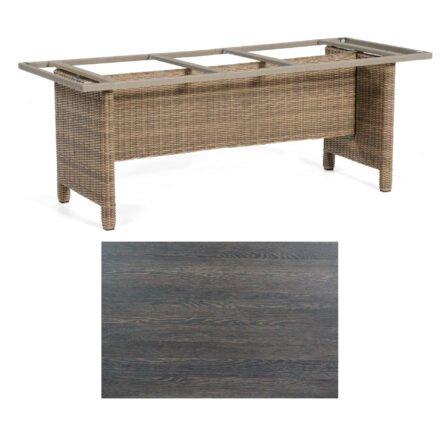 Sonnenpartner Gartentisch Base-Polyrattan, Gestell Geflecht rustic-stream, Tischplatte HPL mali-wenge, Größe: 200x100 cm