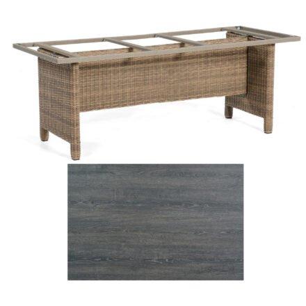 Sonnenpartner Gartentisch Base-Polyrattan, Gestell Geflecht rustic-stream, Tischplatte HPL Pinie dunkel, Größe: 200x100 cm