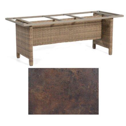 Sonnenpartner Gartentisch Base-Polyrattan, Gestell Geflecht rustic-stream, Tischplatte HPL Rostoptik, Größe: 200x100 cm