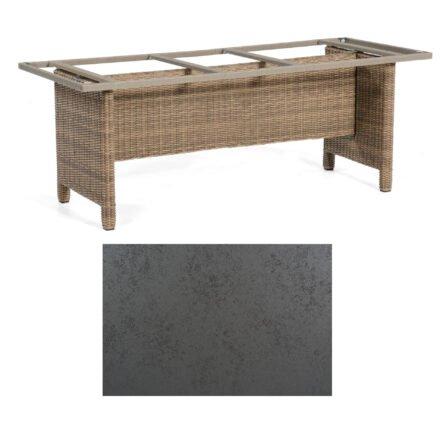 Sonnenpartner Gartentisch Base-Polyrattan, Gestell Geflecht rustic-stream, Tischplatte HPL Struktura anthrazit, Größe: 200x100 cm