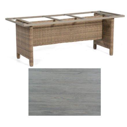 Sonnenpartner Gartentisch Base-Polyrattan, Gestell Geflecht rustic-stream, Tischplatte HPL Vintageoptik, Größe: 200x100 cm