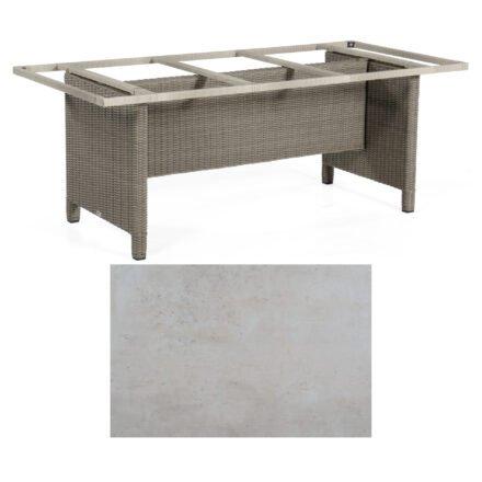 Sonnenpartner Gartentisch Base-Polyrattan, Gestell Geflecht stone-grey, Tischplatte HPL Beton hell, Größe: 200x100 cm