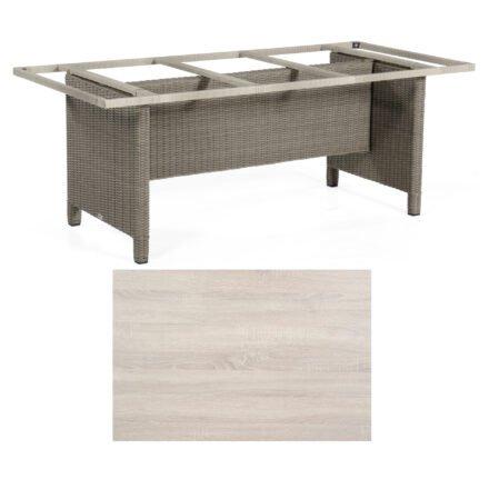 Sonnenpartner Gartentisch Base-Polyrattan, Gestell Geflecht stone-grey, Tischplatte HPL Eiche sägerau, Größe: Größe: 200x100 cm