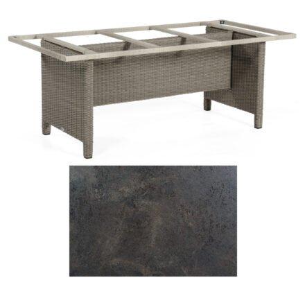 Sonnenpartner Gartentisch Base-Polyrattan, Gestell Geflecht stone-grey, Tischplatte HPL Keramikoptik, Größe: 200x100 cm