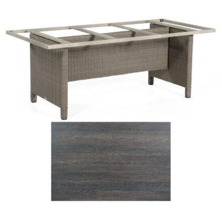 Sonnenpartner Gartentisch Base-Polyrattan, Gestell Geflecht stone-grey, Tischplatte HPL mali-wenge, Größe: 200x100 cm