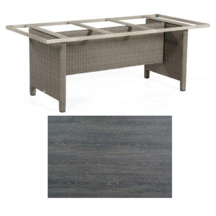 Sonnenpartner Gartentisch Base-Polyrattan, Gestell Geflecht stone-grey, Tischplatte HPL Pinie dunkel, Größe: 200x100 cm