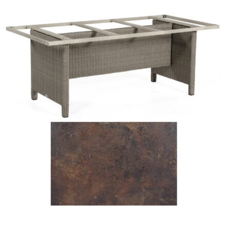 Sonnenpartner Gartentisch Base-Polyrattan, Gestell Geflecht stone-grey, Tischplatte HPL Rostoptik, Größe: 200x100 cm