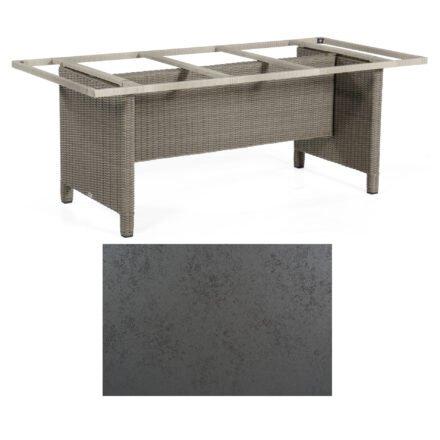 Sonnenpartner Gartentisch Base-Polyrattan, Gestell Geflecht stone-grey, Tischplatte HPL Struktura anthrazit, Größe: 200x100 cm