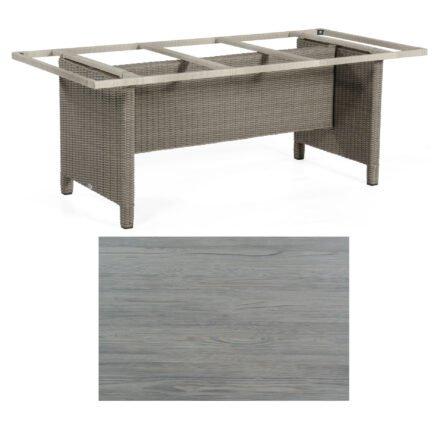 Sonnenpartner Gartentisch Base-Polyrattan, Gestell Geflecht stone-grey, Tischplatte HPL Vintageoptik, Größe: 200x100 cm