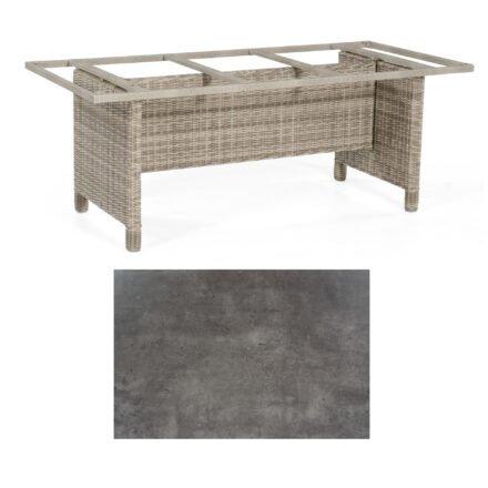 Sonnenpartner Gartentisch Base-Polyrattan, Gestell Geflecht white-coral, Tischplatte HPL Beton dunkel, Größe: 200x100 cm
