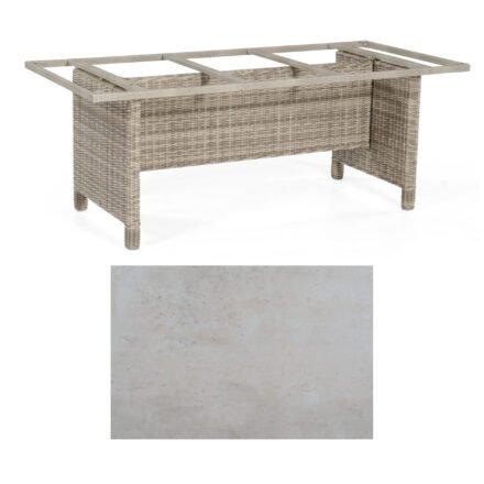 Sonnenpartner Gartentisch Base-Polyrattan, Gestell Geflecht white-coral, Tischplatte HPL Beton hell, Größe: 200x100 cm