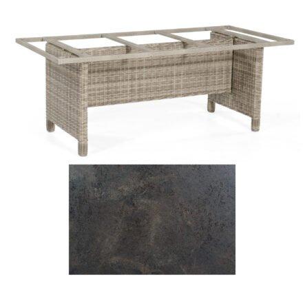 Sonnenpartner Gartentisch Base-Polyrattan, Gestell Geflecht white-coral, Tischplatte HPL Keramikoptik, Größe: 200x100 cm