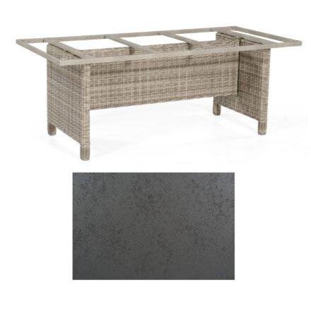 Sonnenpartner Gartentisch Base-Polyrattan, Gestell Geflecht white-coral, Tischplatte HPL Struktura anthrazit, Größe: 200x100 cm