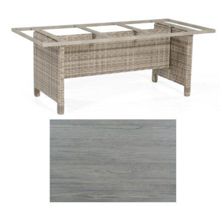 Sonnenpartner Gartentisch Base-Polyrattan, Gestell Geflecht white-coral, Tischplatte HPL Vintageoptik, Größe: 200x100 cm