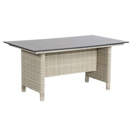 """SonnenPartner Tisch """"Base-Polyrattan"""", Geflecht Polyrattan white-coral, Tischplatte HPL Compact Rostoptik, 160x90 cm"""