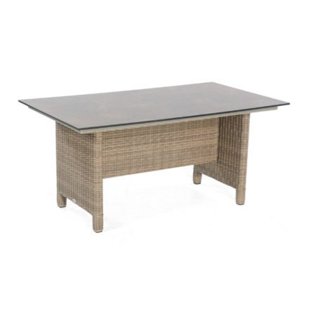 """SonnenPartner Tisch """"Base-Polyrattan"""", Geflecht Polyrattan rustic-stream, Tischplatte HPL Compact Rostoptik, 160x90 cm"""