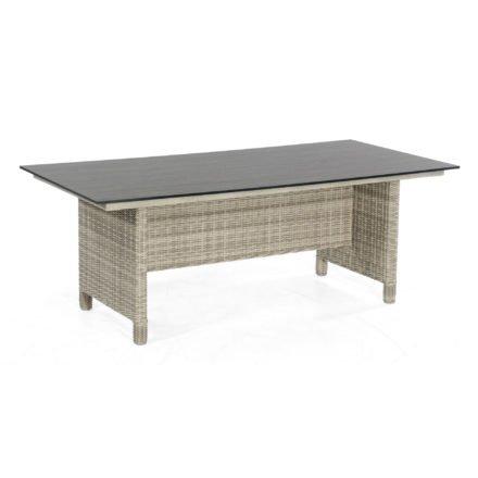 """SonnenPartner Tisch """"Base-Polyrattan"""", Geflecht Polyrattan white-coral, Tischplatte HPL Compact Pinie dunkel, 200x100 cm"""