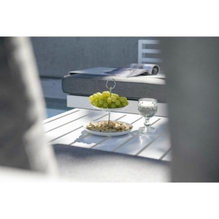 Stern Dining Bank Holly, Aluminium weiß, Kissen seidengrau