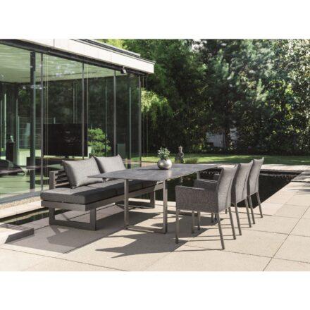 """Stern Dining Bank/Lounge """"New Holly"""", Gestell Aluminium schwarz matt, Sitzfläche Textil Leinen grau, Kissen seidenschwarz"""