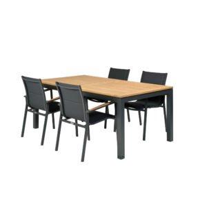 """Tierra Outdoor Gartenmöbel-Set mit Tisch """"Briga"""" 180cm und vier Stapelsesseln """"Foxx"""""""