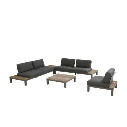 "4Seasons Outdoor Loungeserie ""Fidji"", Gestell Aluminium Smoke grey, Teak Instant grey, Kissen dunkelgrau"