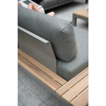 """4Seasons Outdoor 2-Sitzer Seitenteil """"Fidji"""", Gestell Aluminium Smoke grey, Teak Instant grey, Kissen dunkelgrau, Detail"""