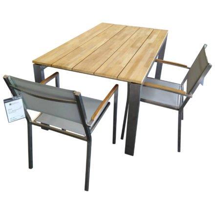 """4Seasons Outdoor Gartenmöbel-Set mit Stuhl """"Promo Nexxt"""" und Tisch """"Goa"""", Gestelle Edelstahl, Sitz Textilgewebe, Tischplatte Teakholz"""